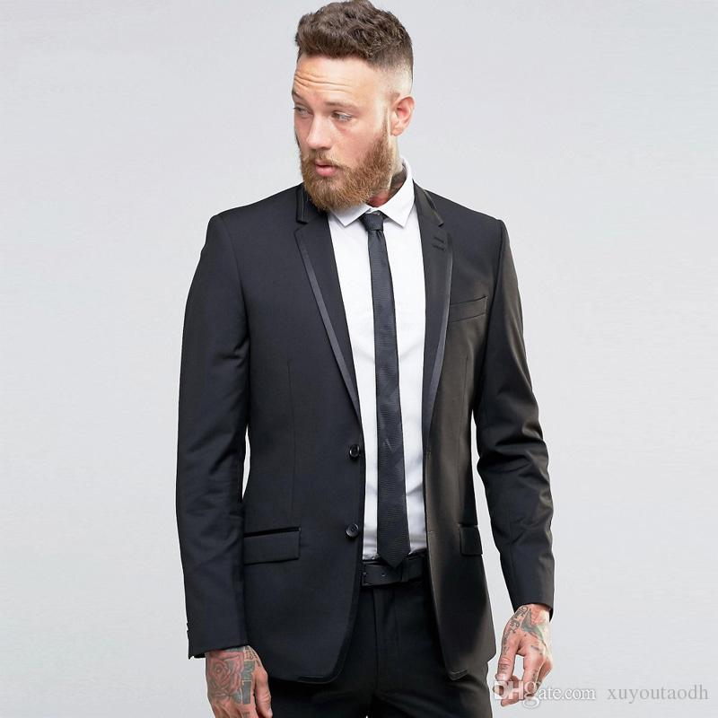 2018 Custom Made Black Men Suits Wedding Suits For Man Best Man Slim Fit Skinny Formal Tailored Tuxedo Party Suit Dress Terno (Jacket+Pants)