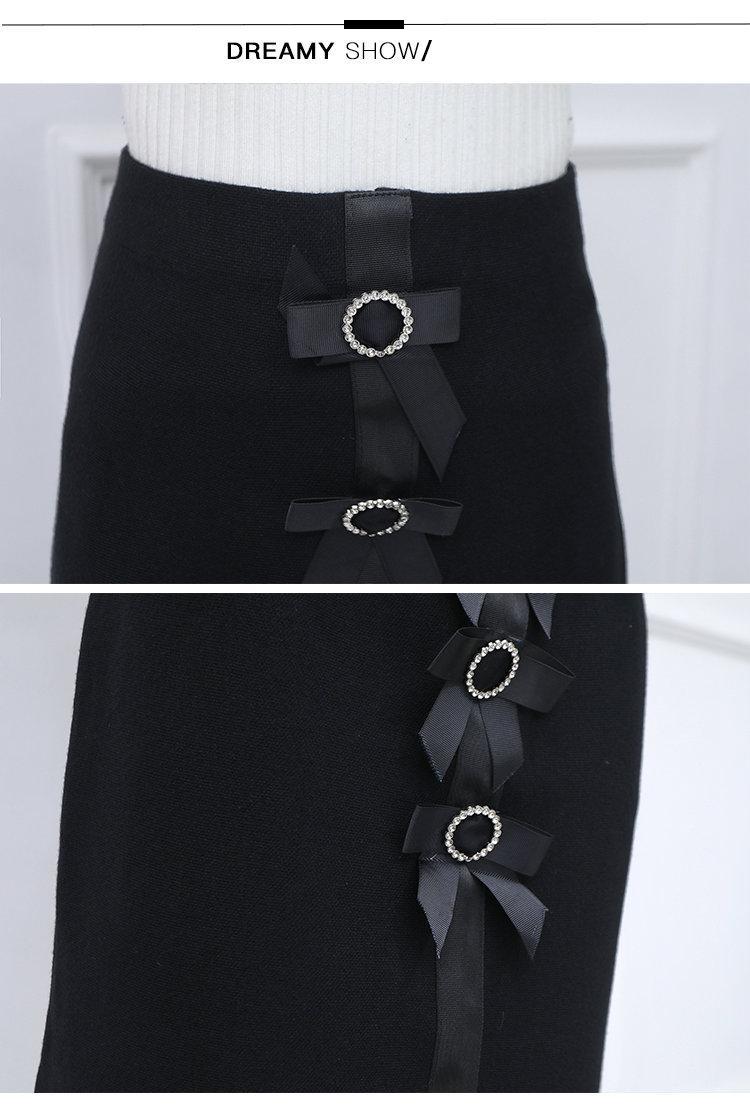 New 2019 Skirt Autumn Elegant Office Skirts Women High Waist Faldas Mujer Casual Black Skirt Chic Bow Saia Femme Invierno (8)