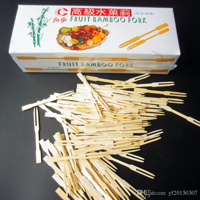 Tenedores desechables de frutas de bambú, fruta, horquillas, longitud, cóctel, desechables, fruta, pinchos, pinchos, palillos, fiesta, postre, utensilio