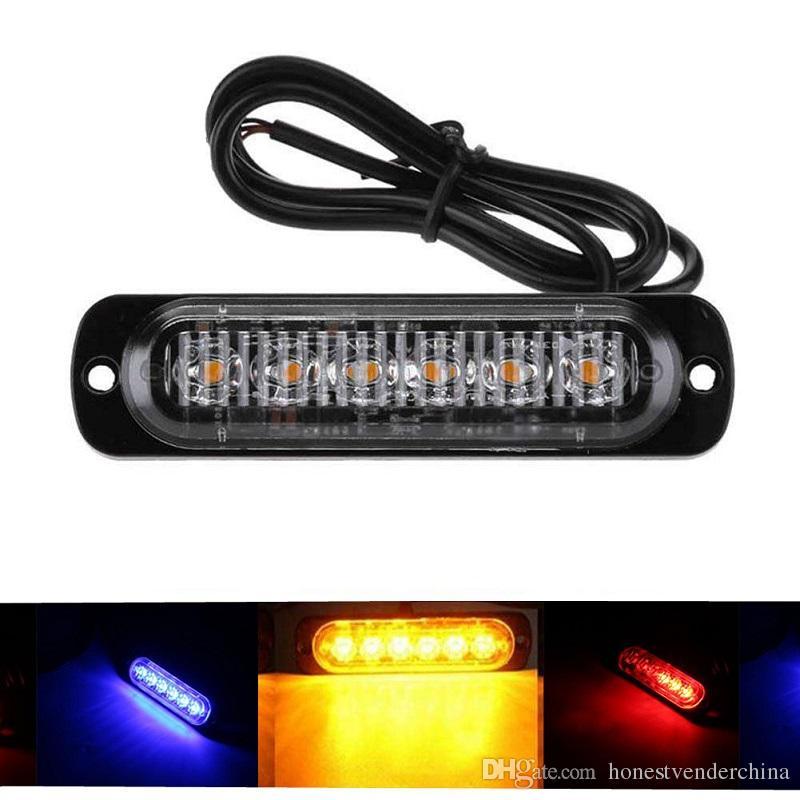 1Pcs luzes diurnas Car Flash Light Super Bright 6LED impermeável DC 12V Branco Amarelo Truck Auto Fog Luz Lâmpadas Driving