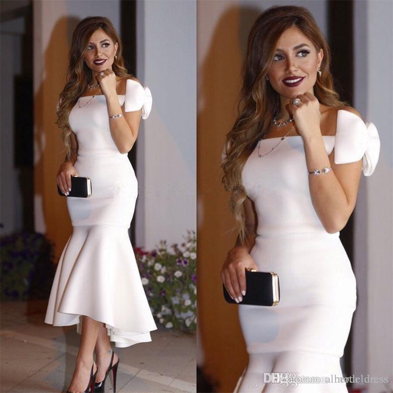 Arabic Short White Cocktail Dresses 2019 Off Shoulder Bow Mermaid Tea Length Modest Prom Party Evening Gowns Cheap Custom Made