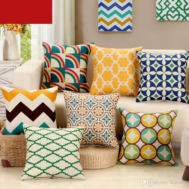 Modern Linen PillowCase Square Pillow Cover Geometry Pattern Bedroom Cushion Chair Seat Office Decorative Home Textile