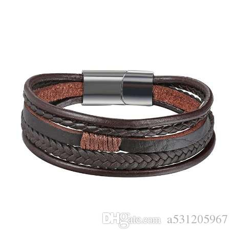 XiongHang Men Jewelry Punk Black Braided Geunine Leather Bracelet Stainless Steel Magnetic Buckle Fashion Bangles Vintage Gifts