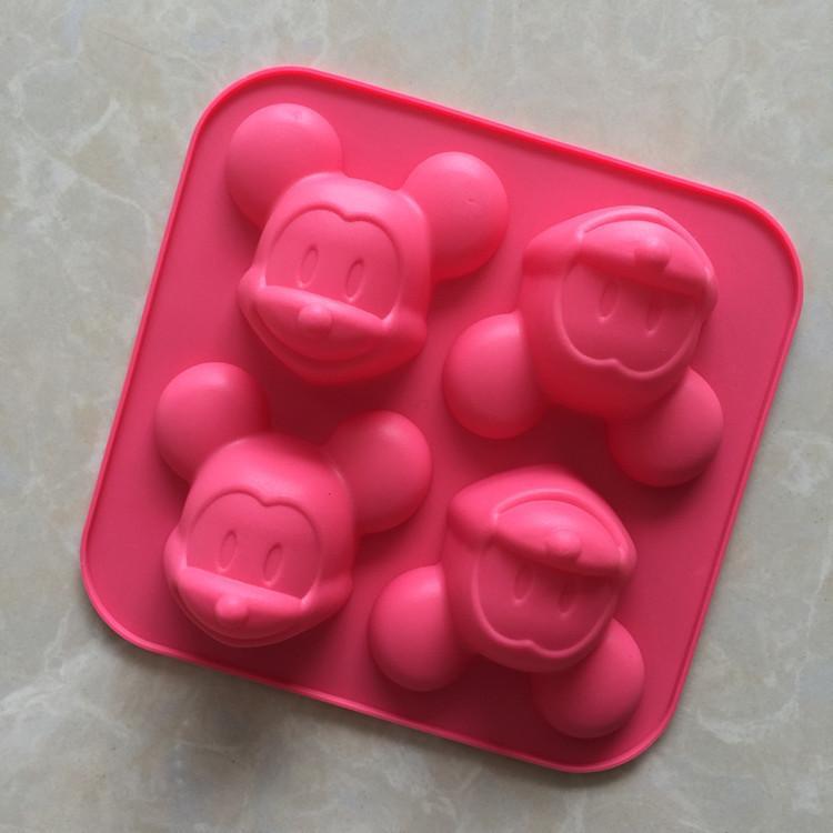 ديي قالب الكعكة 4 حتى هلام السيليكا الماوس شكل كعكة نموذج دليل الصابون صبغ مقاومة درجات الحرارة العالية سهلة نظيفة يمكن تجميد الجليد