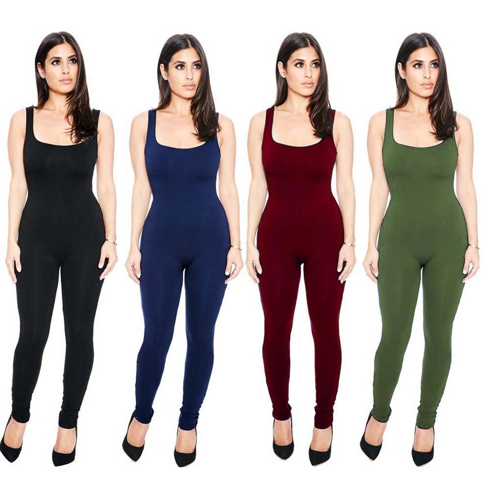 2017 Sexy maniche Bodycon pagliaccetti della tuta del estate delle donne di modo tute Tuta Tuta aderente Tuta Pantaloni YF420