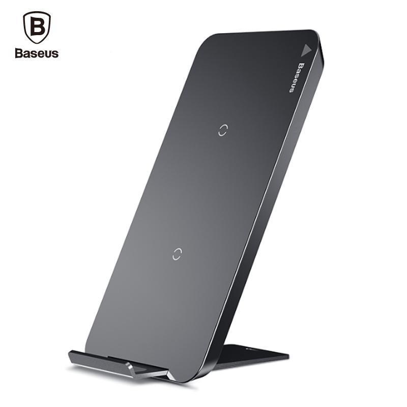 Baseus qi carregador sem fio para iphone x 8 samsung s9 s8 s7 s6 borda nota 8 telefone rápido sem fio de carregamento pad docking dock station