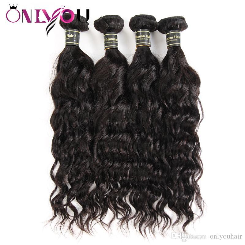 Amazing Cheap Brazilian Virgin Hair Wefts 4 Pcs/lot Water Wave Human Hair Bundles Remy Human Hair Weaves Bundles Natural Wave Factory Deals