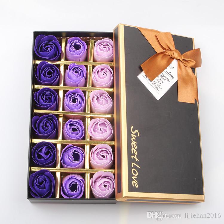 18 Adet / kutu Kokulu Banyo Sabunu Gül Çiçek Petal Sevgililer Günü Hediyeleri Düğün Hediye ve doğum günü Hediyeleri için Harika