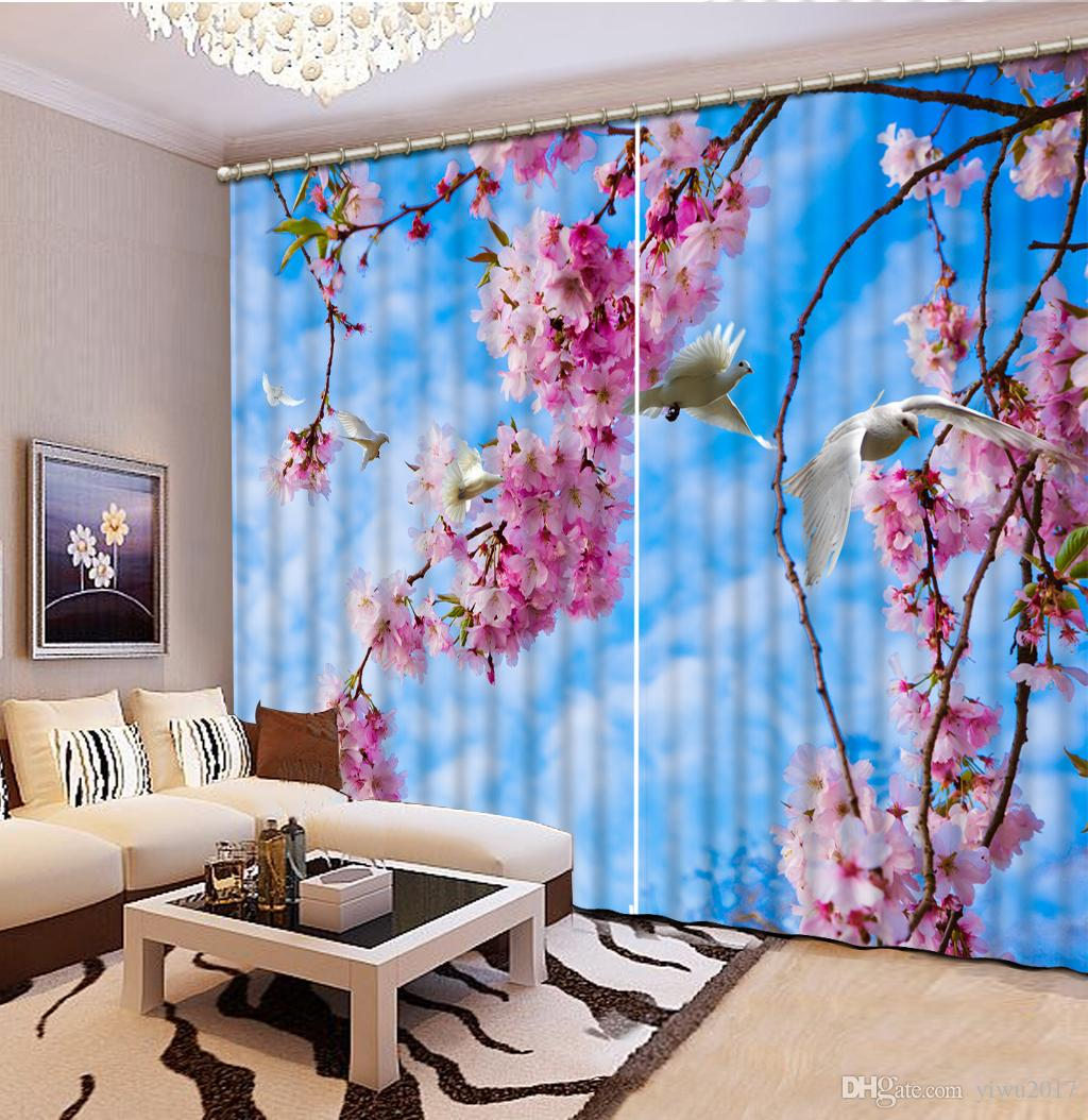 Европейский 3D шторы цветок голуби шторы для гостиной Для спальни занавес окна украшения дома