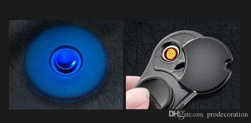 Cool Hand Spinner Finger Lighters Fidget Spinner Led Cigarette Electric Lighter USB Led Spinner-hand Plasma Lighter