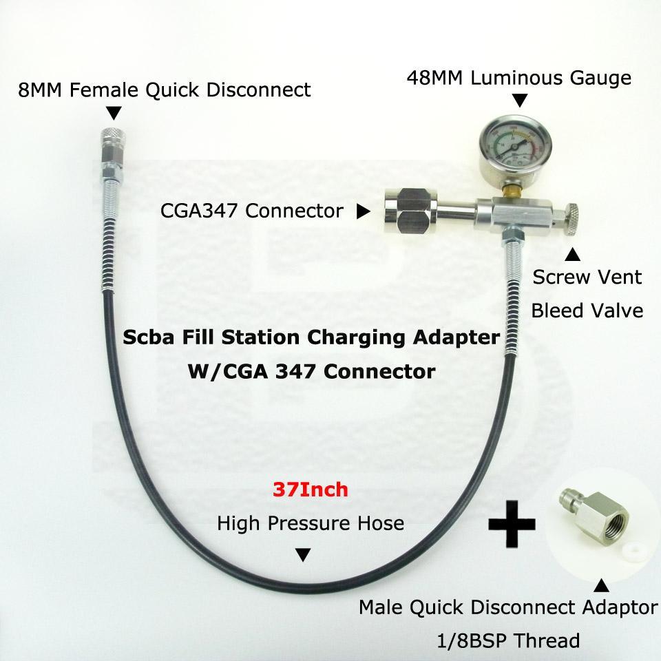 Yeni Paintball PCP Scba Dolum Istasyonu Şarj Adaptörü Ile CGA 347 Bağlayıcı 37 inç Microbore Hortum