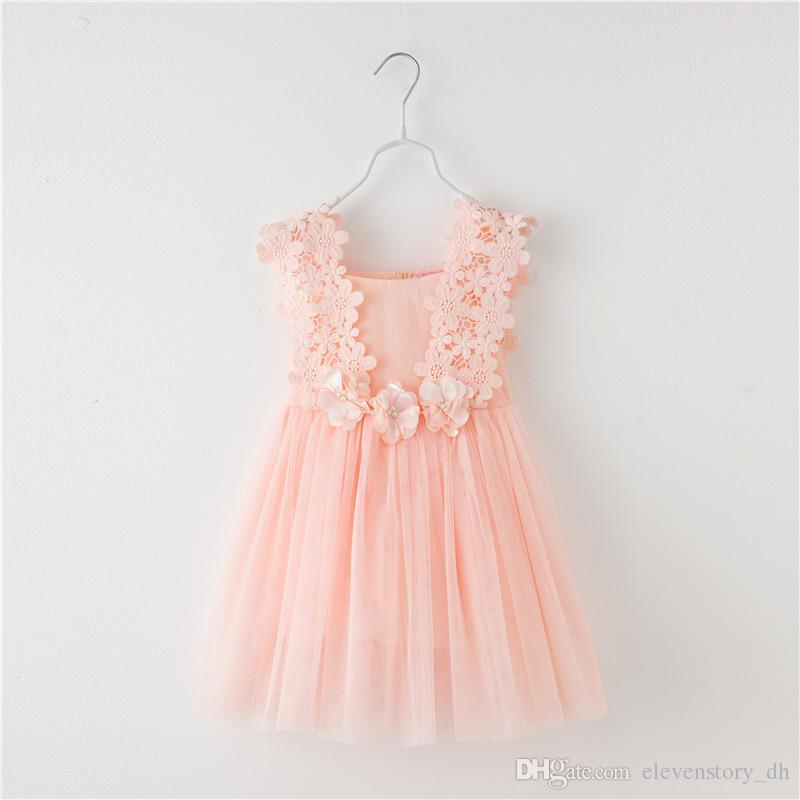 Compre De 3 A 8 Años Vestidos De Flores De Perlas De Encaje De Verano Para Niñas Fiesta De Princesa Para Niños Vestido Con Chaleco Tutu Ropa Para