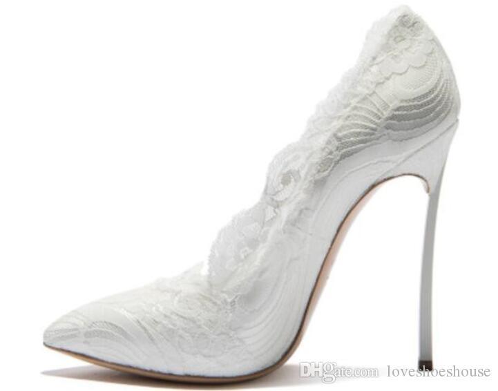 2018 mujeres sexy bombas de encaje negro talón fino zapatos de fiesta bombas de color mezclado punta del dedo del pie tacones altos 12 cm resbalón en los zapatos de boda de encaje