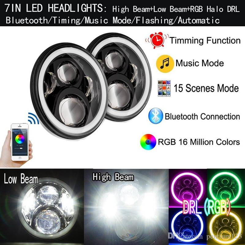 "RGB 7"" LED Headlamp for Hummer 7"" LED Headlight bulbs& Bluetooth Function& RGB halo for Jeep Wrangler Defender LED Driving Light"