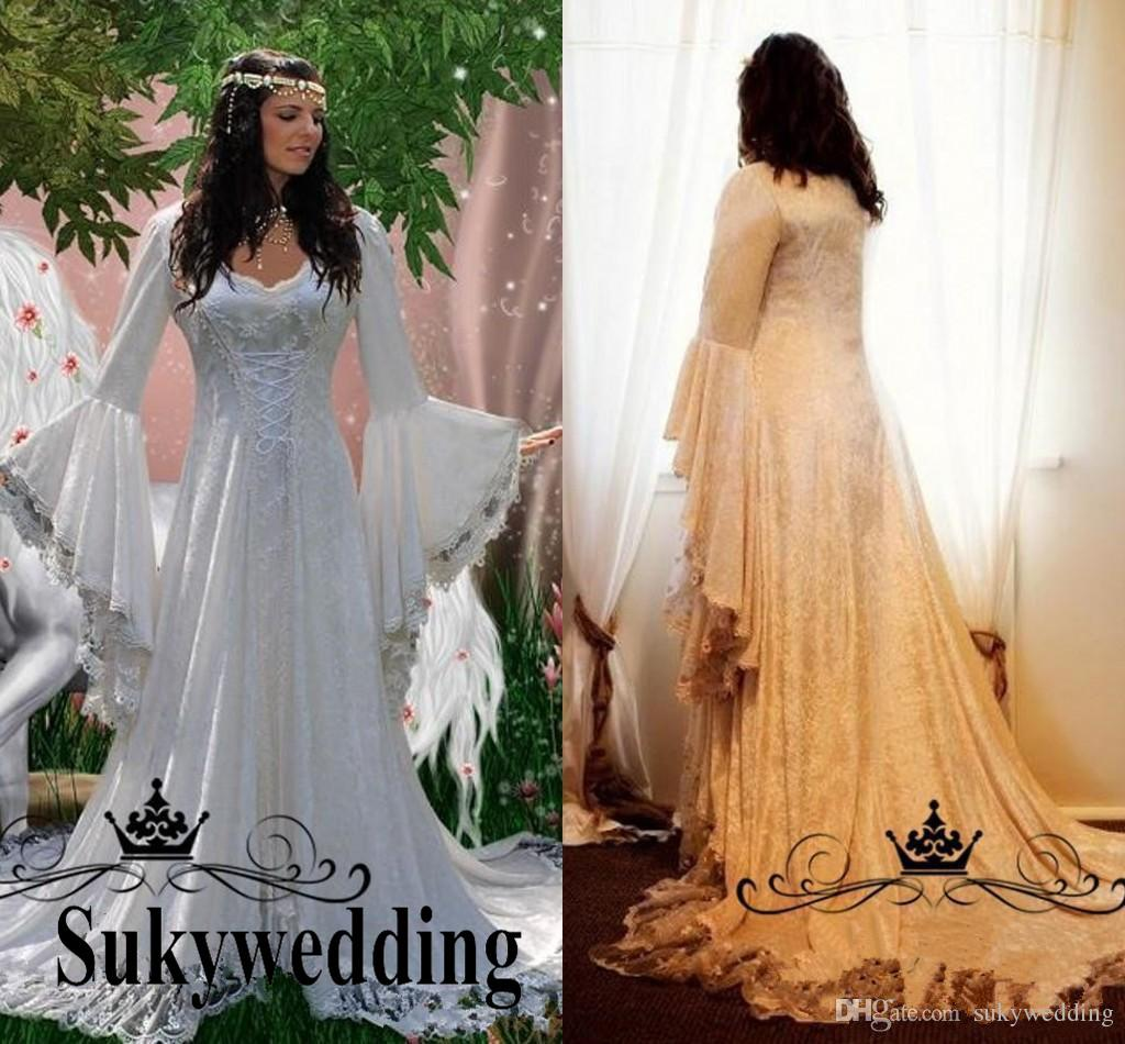Discount Gothic Lace Wedding Dresses 2019 Plus Size A Line Bell Long Sleeve Vintage Lace Renaissance Bridal Gowns Medieval Halloween Wedding Gowns Traditional Wedding Dresses Vintage Style Wedding Dresses From Sukywedding 136 69,Beach Wedding Guest Dresses 2020