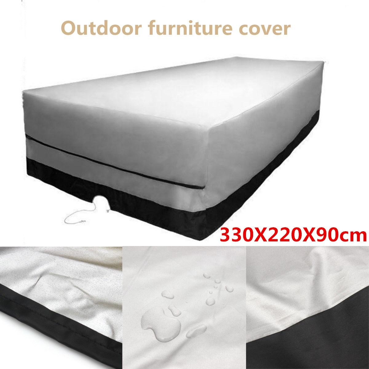 Outdoor Garden Furniture Cover 330X220X90cm Rect Patio Table Desk Chair Waterproof Black Color 600D Dust Rain UV Protection