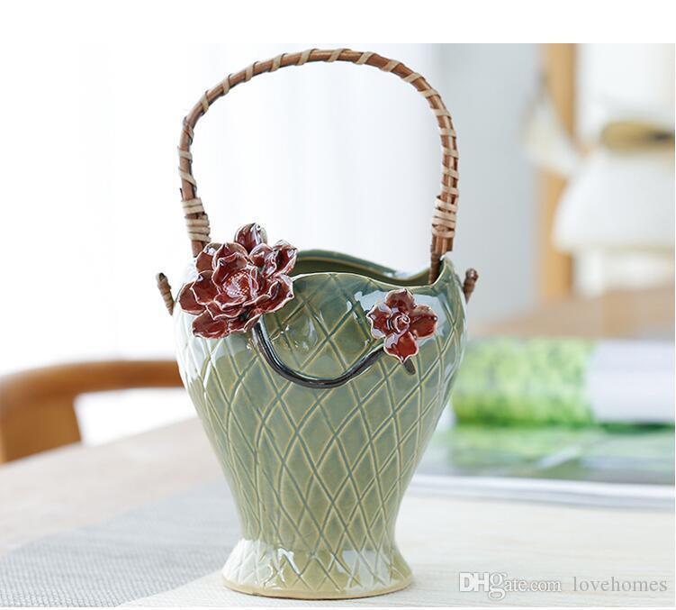 Vasi di ceramica di forma del fiore di modo di alta qualità Europa vaso di ceramica per la decorazione domestica Vaso da tavolo Vaso di colore verde scegliere LH10
