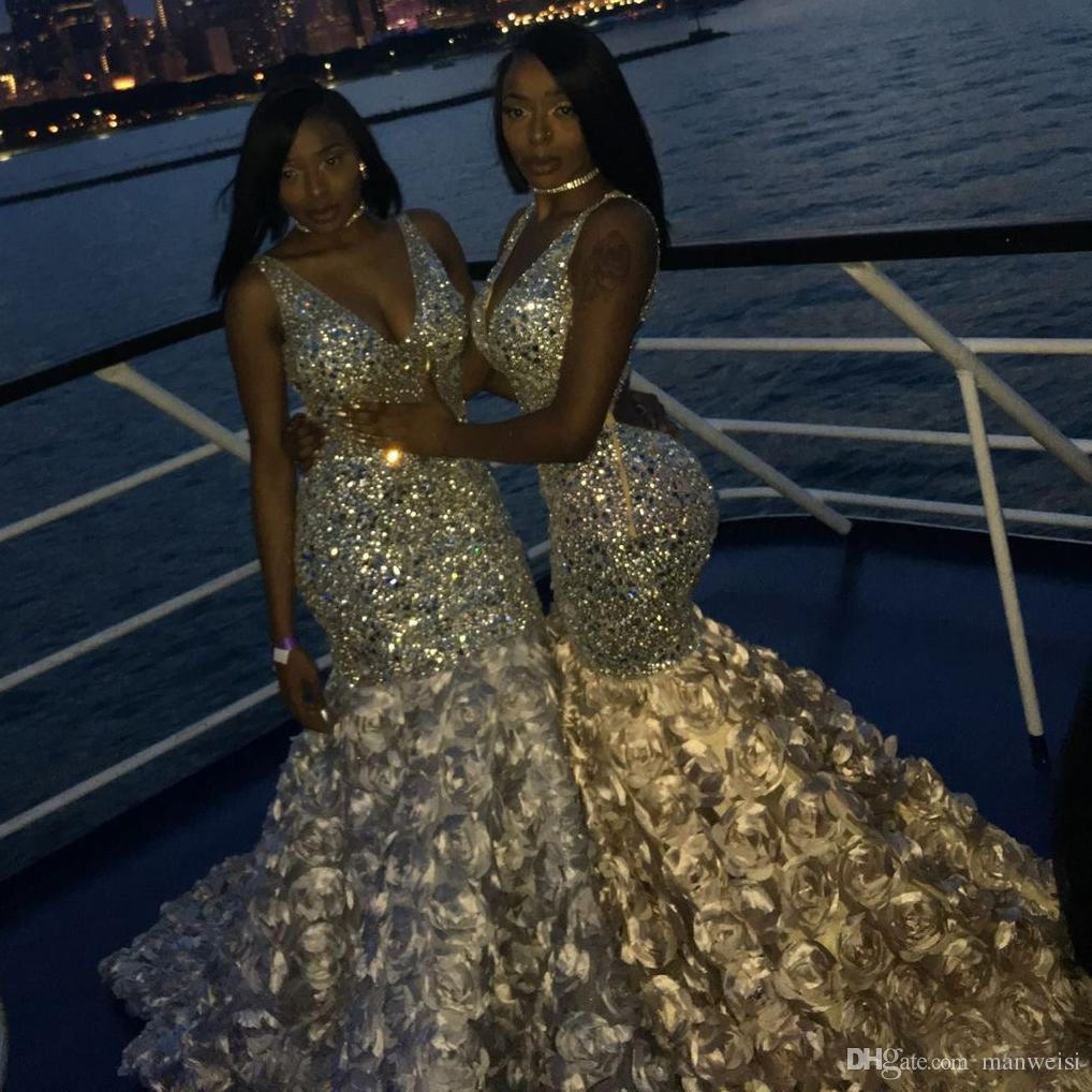 Bling Bling Syrenki Suknie Wieczorowe Sexy Głębokie V Neck Koraliki Kryształy 3D Kwiatowy Dla Czarnych Dziewczyn Afryki Prom Suknie Plus Rozmiar