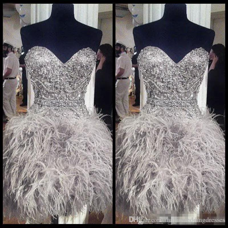 2018 Short Prom Dresses With Feathers Sweetheart Neck Corset Lace Up Back Graduation Homecoming Dress Beading Crystal Cocktail Girls Gowns