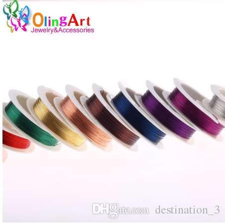 OlingArt 0.3 мм 20 м/рулон медный провод смешанный многоцветный покрытием бисероплетение проволока ювелирные изделия выводы DIY ювелирные изделия аксессуары шнур/строка