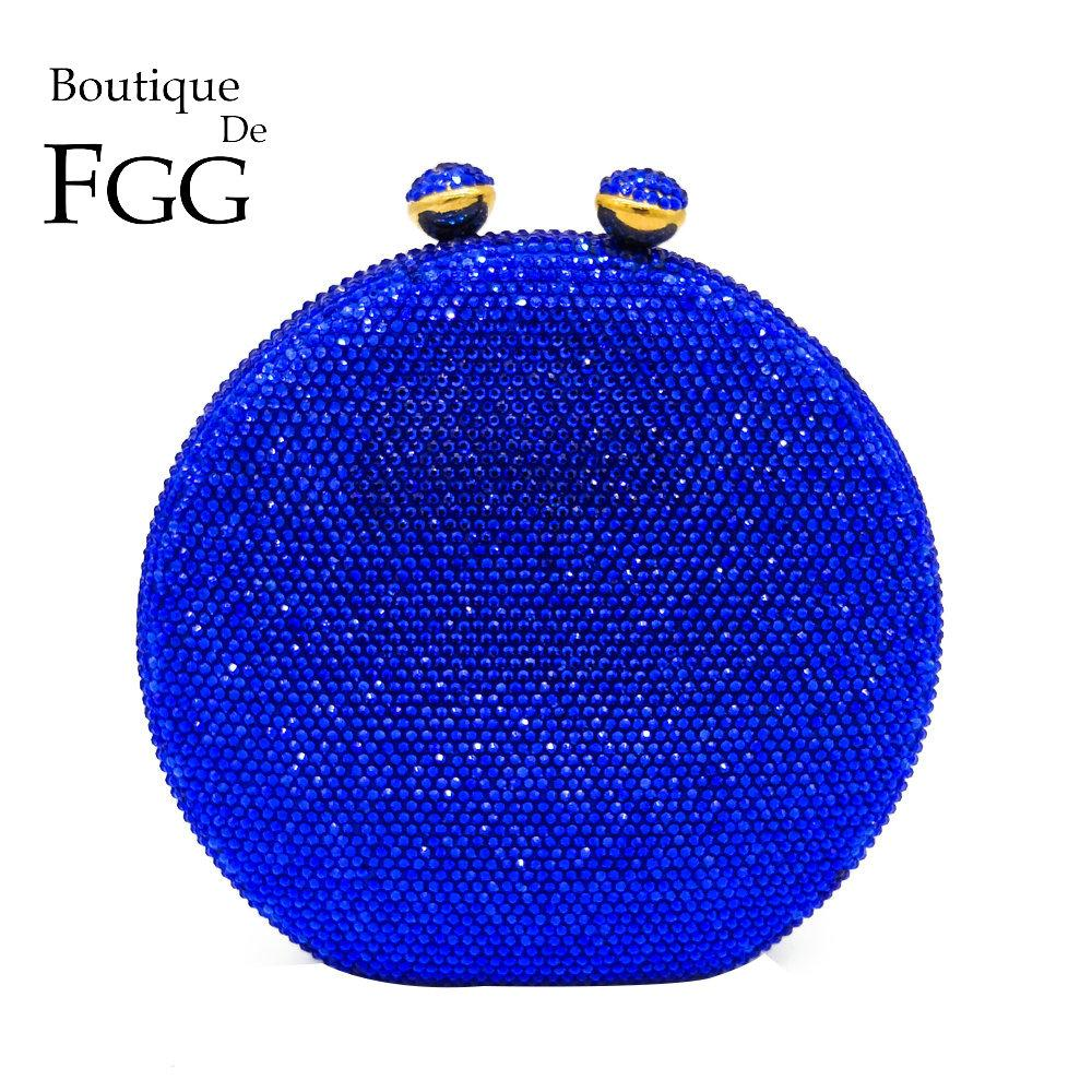 Boutique De FGG Dazzling Big Round Royal Blue Crystal Women Evening Clutch Bags Hard Case Metal Wedding Party Cocktail Handbag