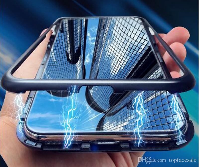 iPhone 8 7 6 Plus için iPhone 11 Pro Xs Max XR X temperli cam Adsorpsiyon Durum Metal tampon Sert Kapak için Manyetik Kılıf