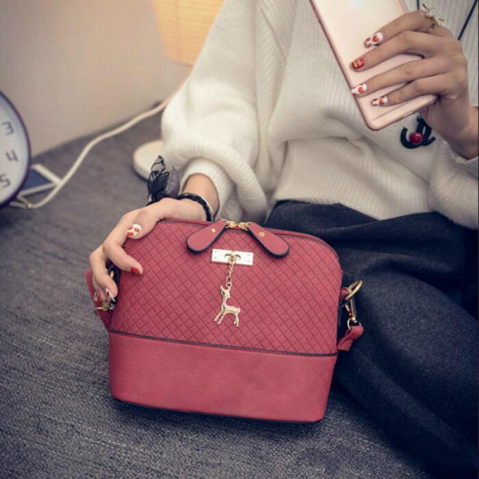 Çanta Kadınlar Messenger Deri Küçük Ekose Çanta Geyik Şekli Omuz Kabuk Kızlar Telefon Kawaii Mini Debriyaj UJRCO