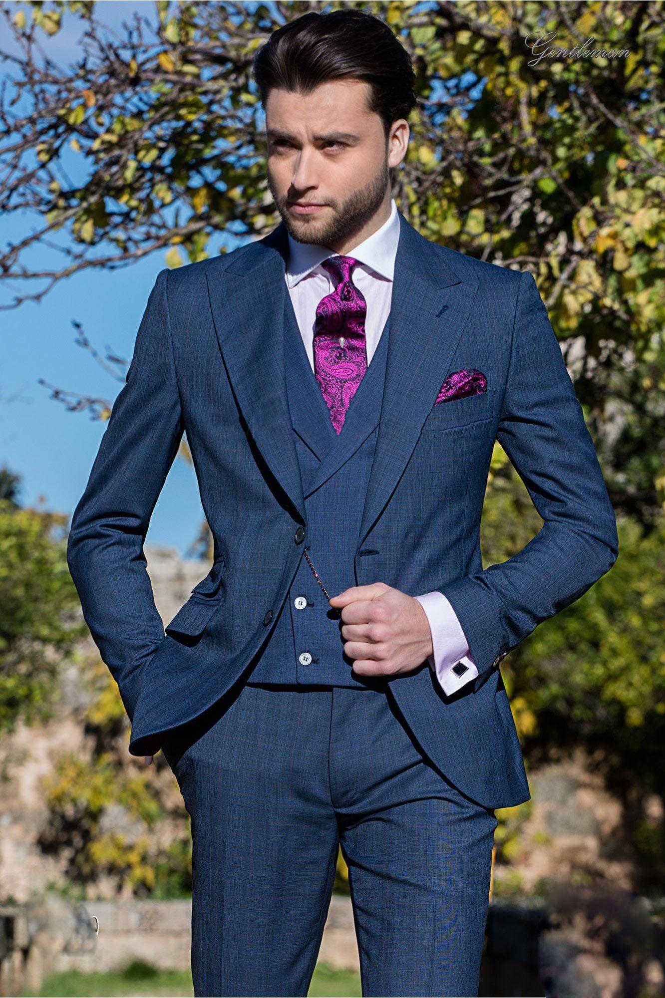 Estilo italiano Mens Azul Marinho Três Peças Ternos (Jacket + Calça + Colete) Guarnição Apto Adequado Para O Verão Antumn Men Fino Conjunto de Roupas, Tuxedo Do Casamento