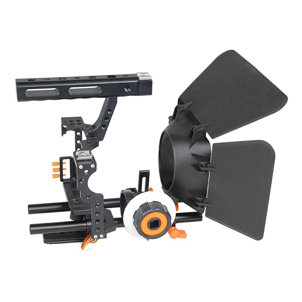 Großhandel C500 DSLR Kamera Video Cage Kleine Rig für Sony A7 Panasonic Gh4 mit Matte Box und Follow Focus