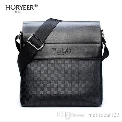 HORYEER sacoche homme özel teklif deri messenger çanta moda erkekler iş crossbody çanta marka POLO Omuz evrak çantası B
