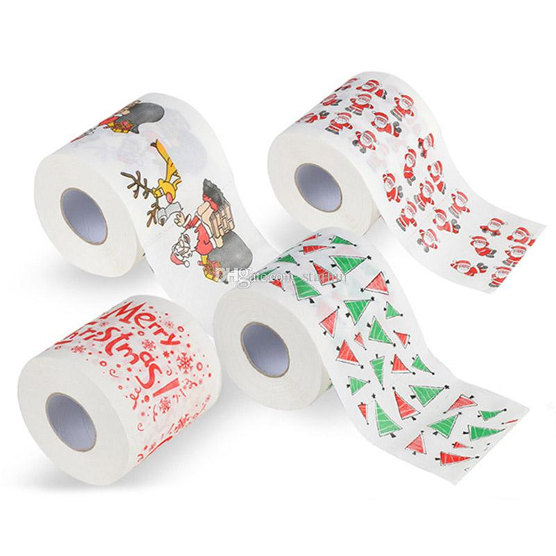 New Christmas Pattern Toilet Paper Roll Fashion Funny Humour Gag Xmas Decoration Gifts 5 style Free DHL WX9-167
