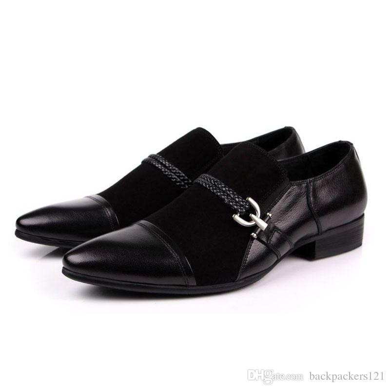 New Mens Shoes Genuine Suede Leather Black Business Work Italian Fashion Male Shoes Slip On Wedding Dress Zapatos Footwear