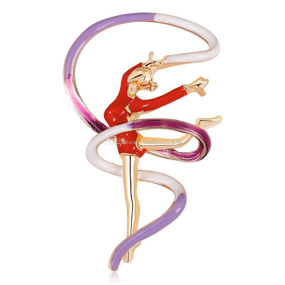 Fantastik 2 Renkler Dansçı Pin Broş Tasarımcı Broşlar Rozeti Metal Emaye Pin Broche Kadınlar Lüks Takı Parti Dekorasyon