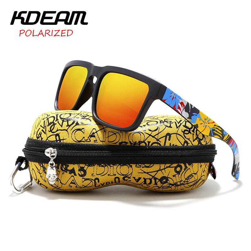 Kdeam Herren Sonnenbrille polarisierte Frauen-Platz Sonnenbrillen Mirrored Strand für Urlaub mit Hard Case