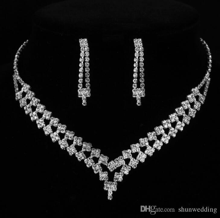 Double couche bijoux de mariage de mariée ensemble pour les femmes Effacer strass cristal collier de mariée ensembles Accessoires cadeau