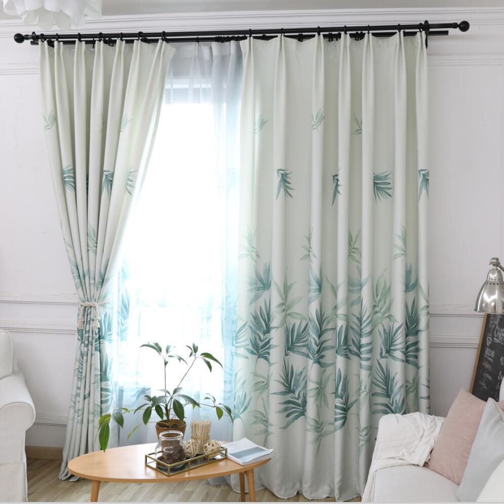 Modern curtains green leaves design for living room bedroom curtain window  treatment balcony pastoral plant curtain S131&30