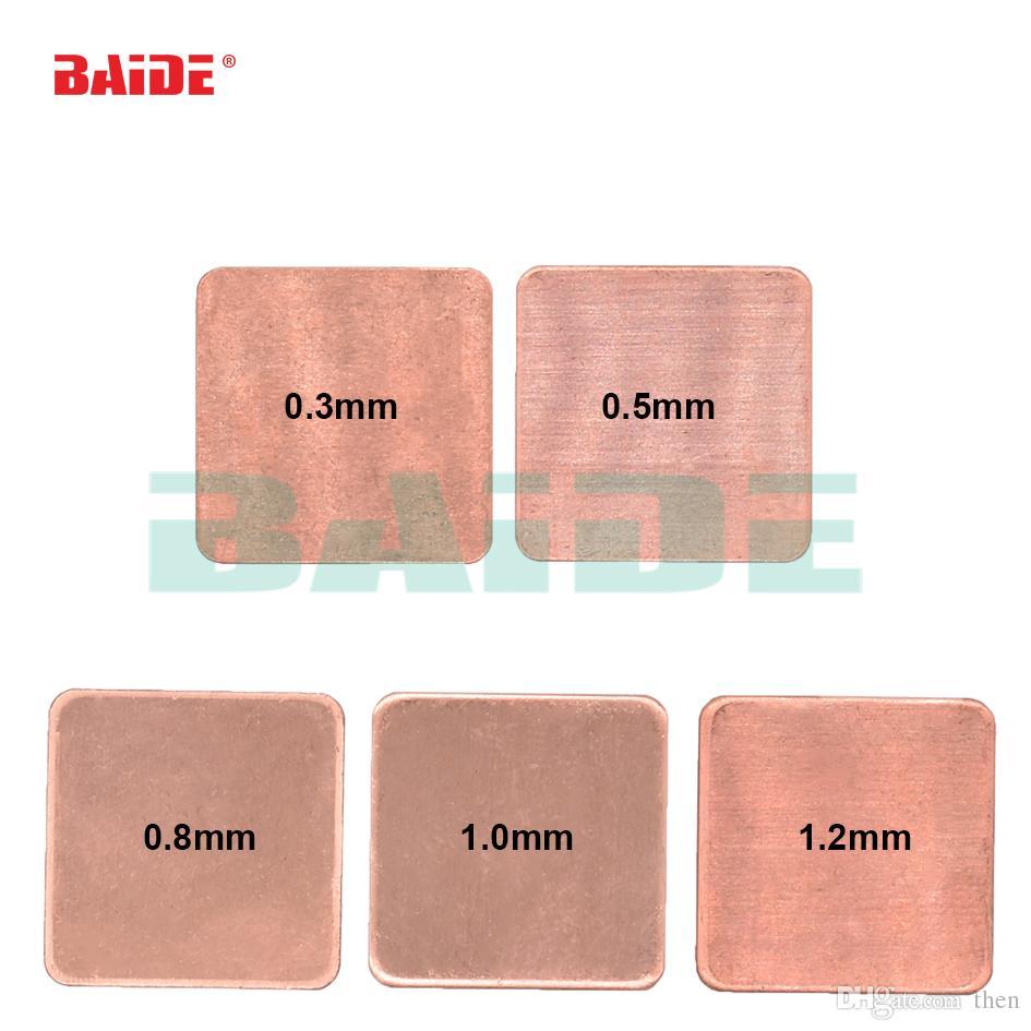 Copper Sheet Shim Piece Heat Sink 20 * 20mm 0.3/0.5/0.8/1.0/1.2 mm Thermal Pad For Laptop GPU CPU 500pcs/lot