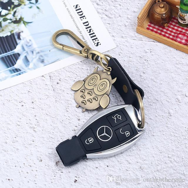Vintage Punk Men Women Handmade Car KeyChains Weaving Leather Key Rings Punk Owl Alloy Keychains Car Keys Holders Pendant