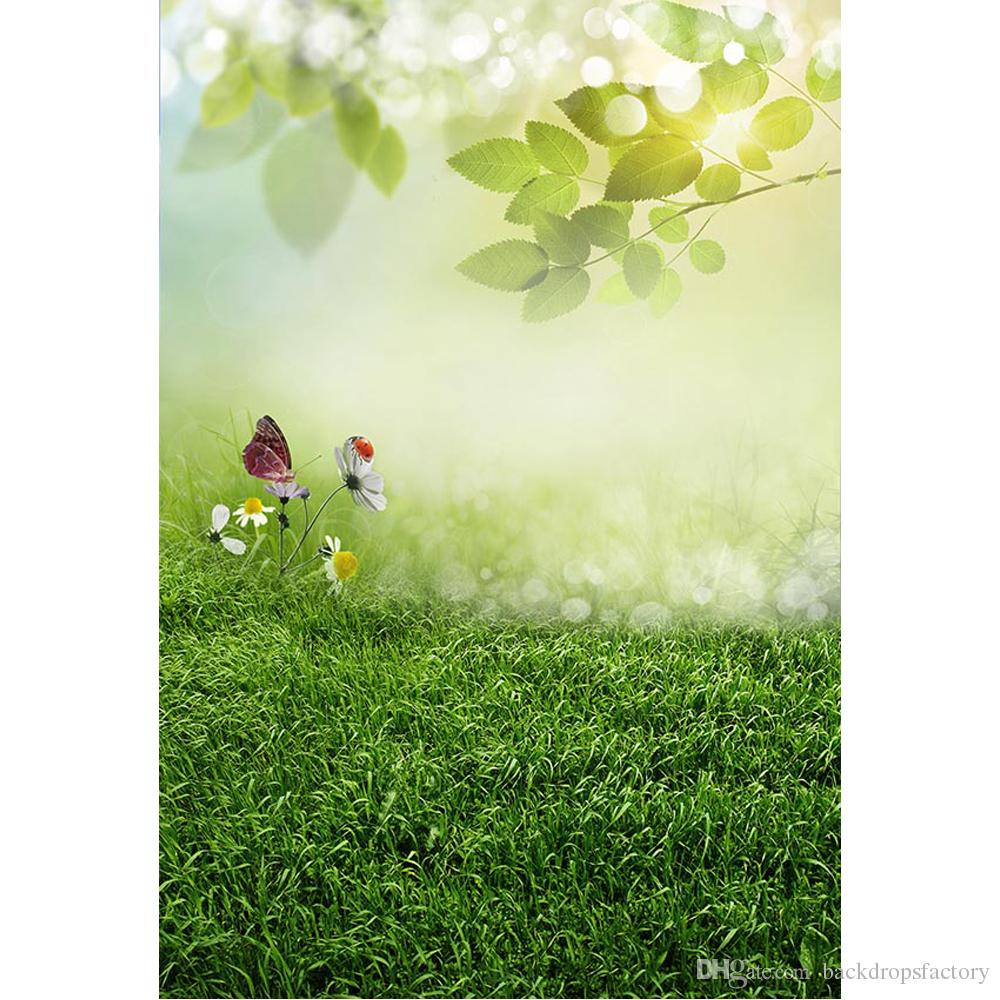Bokeh Sunshine Tree Leaves Spring Backdrop Photography Newborn Baby Props Butterfly Flowers Easter Background Green Grass Floor