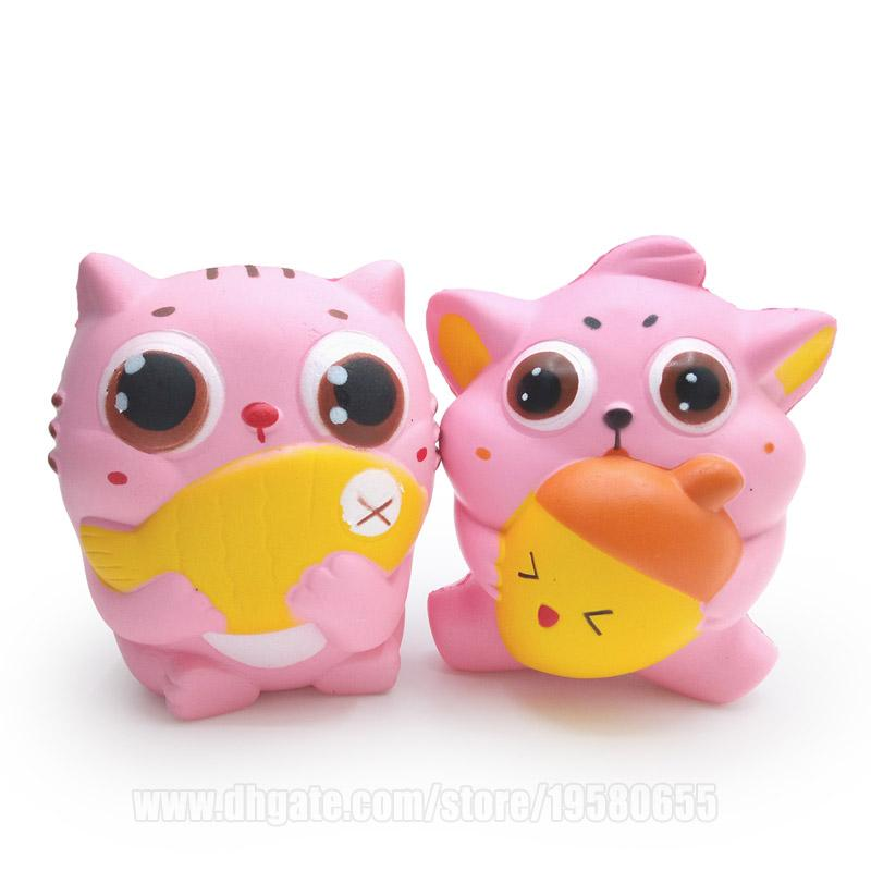 Pink Squishies Animal Cat Fish Kawaii Squishy Toy