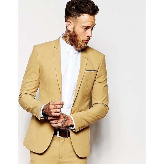 Casual homens amarelos Terno Slim Fit Noivo Smoking 2 Peça Mens Festa De Casamento Ternos Groomsman Noivo Traje (Jaqueta + Calças)