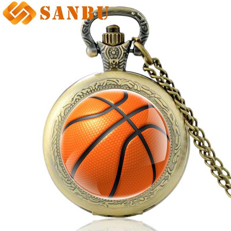 빈티지 청동 농구 석영 주머니 시계 독특한 남자 여자 농구 취미 목걸이 시계
