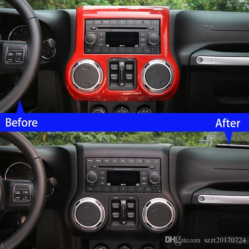 2pcs Red Dashboard Center Console Air Frame Trim For Jeep Wrangler JK 2011-2017