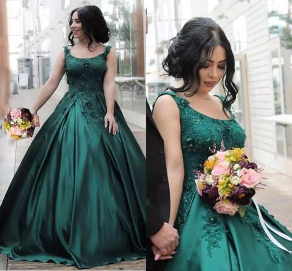 Smaragd Dark Green Prom Kleider 2019 Scoop Spitze Appliques Satin Ballkleider Bodenlangen Schnürkorsett plus Größe Formale Abend Party Wear