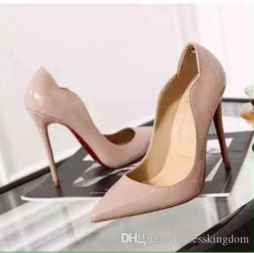 высокое качество женщина высокие каблуки свадебные туфли красный терн черный / красный лакированная кожа женщины насосы острым носом сексуальные туфли на высоких каблуках туфли на шпильках