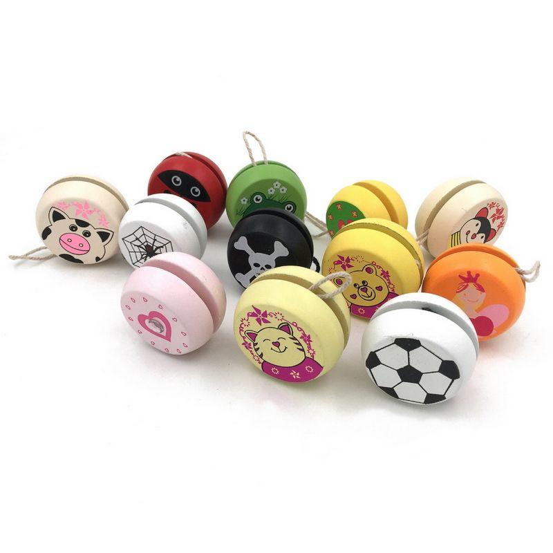 New Wooden Professional Chinese YOYO Ball Kids Drum-shaped Yoyo Ball Toys Yo-Yo Toy Educational Gift for Children Random Color