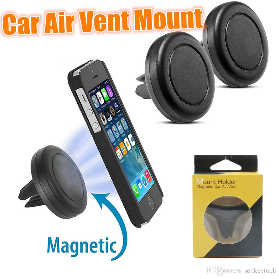 Magnetic Air Vent Mount Mobile Smartphone Stand Magnet Support Cell Cellphone Telephone Desk Tablet GPS Car Phone Holder With Retail Package