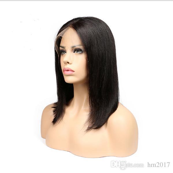 흑인 여성용 머리카락 짧은 밥 가발 한국 실크 레미 헤어 레이스 프론트 인조 가발 헤어 가발 표본 매듭