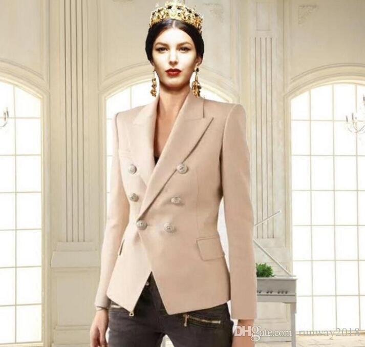 Оптовая продажа модной вечеринки Hign-End взлетно-посадочной полосы горячий стиль взлетно-посадочной полосы с отворотом шеи с длинными рукавами, обшитые панелями двубортный короткая куртка пальто