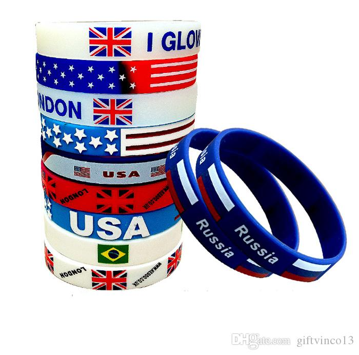 Silicone Bracelets Russia World Cup National Flag Wristband Multi Countries Sports Silicone Rubber Wrist Band Soccer Football Fans Souvenir